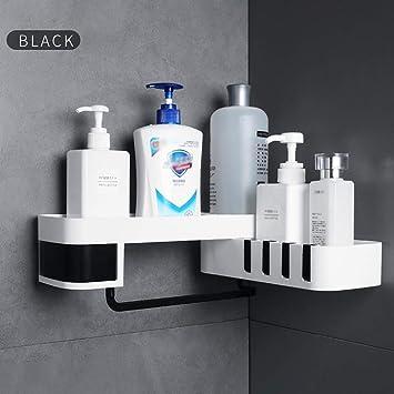 Black Aluminum 1pc Bathroom Shelf Home Kitchen Shower Storage Rack Wall Shelves