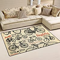 DEYYA Retro Bicycle Pattern Area Rug Carpet Non-Slip Floor Mat Doormats for Living Room Bedroom 3x5