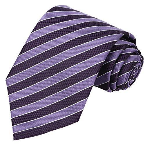 KissTies Purple Lavender Striped Extra Long Tie Necktie + Gift Box