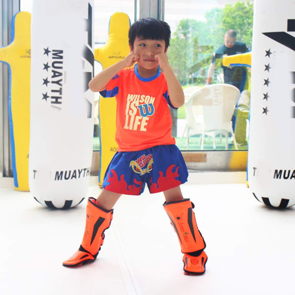 ZYHA Proteges Tibias Jambes Sanda pour Enfants,entra/înement au Combat,jambi/ères Enfants Cheville Muay Thai pour entra/înement de Kickboxing /Équipement de Protection L/égers et Respirants