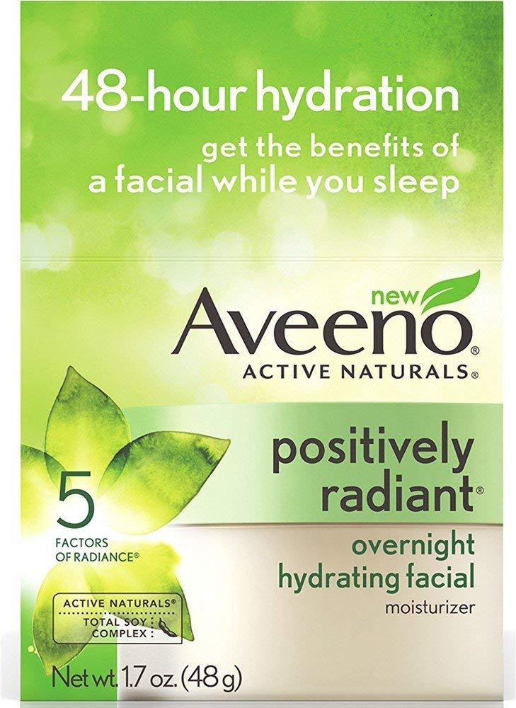 AVEENO Active Naturals Positively Radiant Overnight Hydrating Facial Moisturizer 1.7 oz (4 Pack)