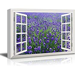 "wall26 - Creative Window View Canvas Prints Wall Art - Lavender Field - 24"" x 36"""