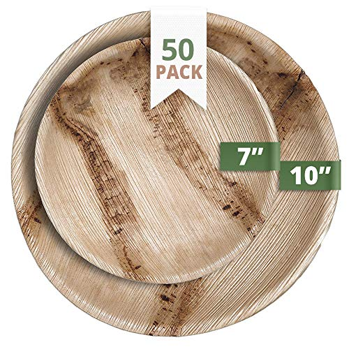 CaterEco Round Palm Leaf Plates Set | Pack of 50- (25) Dinner Plates and (25) Salad Plates | Ecofriendly Disposable Dinnerware | Heavy Duty Biodegradable Party Utensils for Wedding, Camping & More