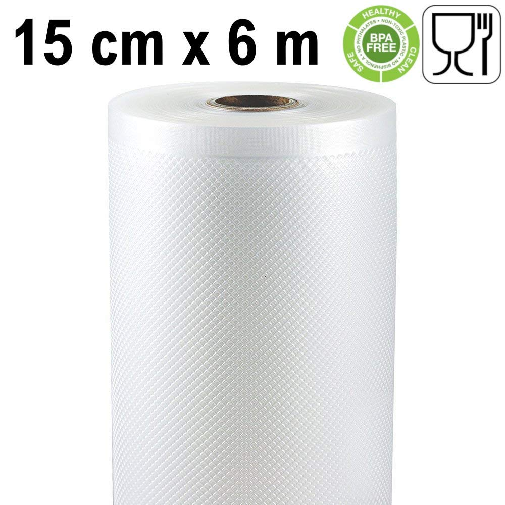 Rollo gofrado de envasado al vacío (2 unidades) (15 cm x 6 metros) para Todo Tipo de envasadora doméstica, Foodsaver, Lacor, Caso, Silvercrest, etc.