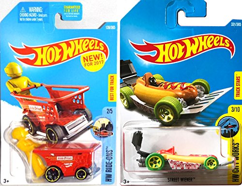 Hot Wheels Foodie New Models Street Wiener #331 2017 Hot Dog Roadster & Aisle Driver Red Grocery Store Basket / Cart Food Combo set 1st editions in PROTECTIVE CASES