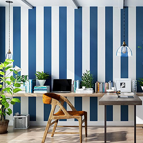 Wallpaper Stripe Modern (Blooming Wall: Modern Stripes Peel-and-Stick Paint Wallpaper Self Adhesive Wallpaper Wall Decor Contact Paper (Blue/White Stripes))