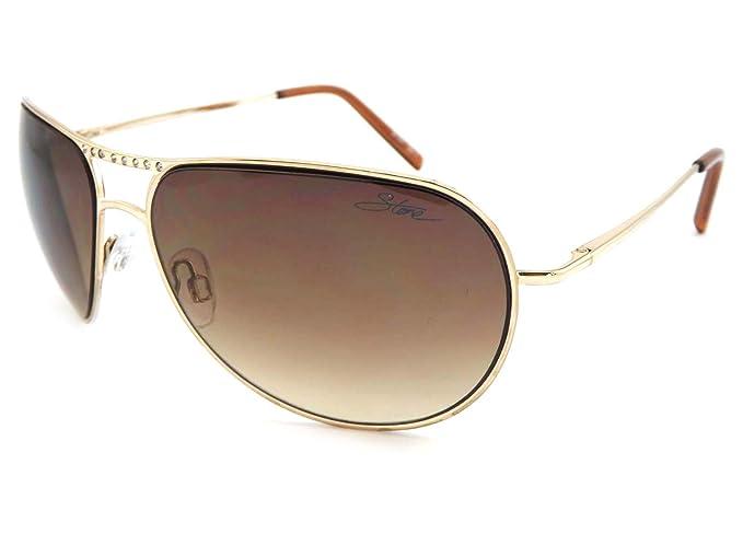 piedra mujer Aviator Gafas de sol - cristales de oro con ...