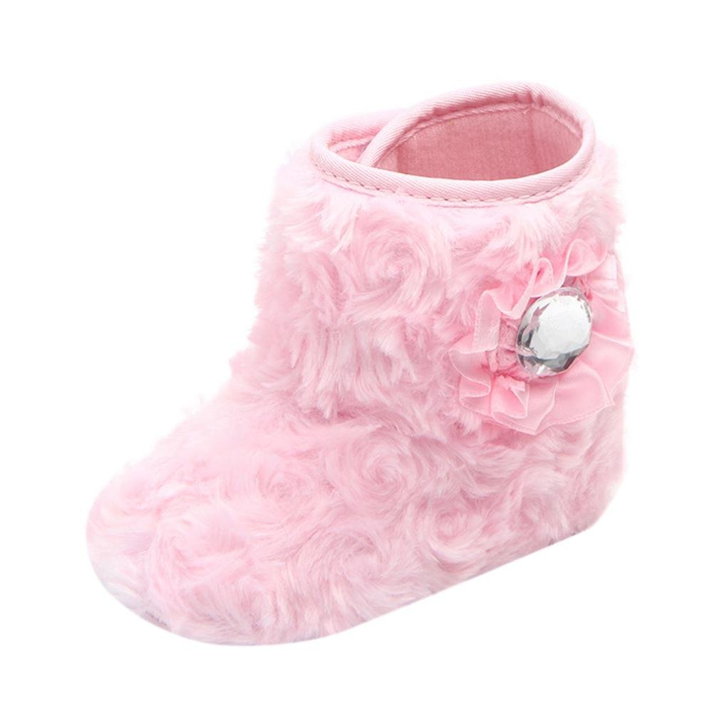 Iuhan Newborn Warm Flower Soft Sole Flock Snow Boots Baby Anti-slip Casual Shoes