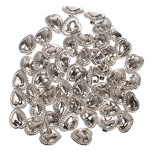 ABS Metal Plated Shank Buttons - Heart Shape with Braided Rim - Nickle - 24 - Heart Plated Metal