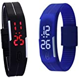 Glitter Collection Led Digital Black And Blue Dial Combo Of 2 Women's Watch (Mgblu0001)
