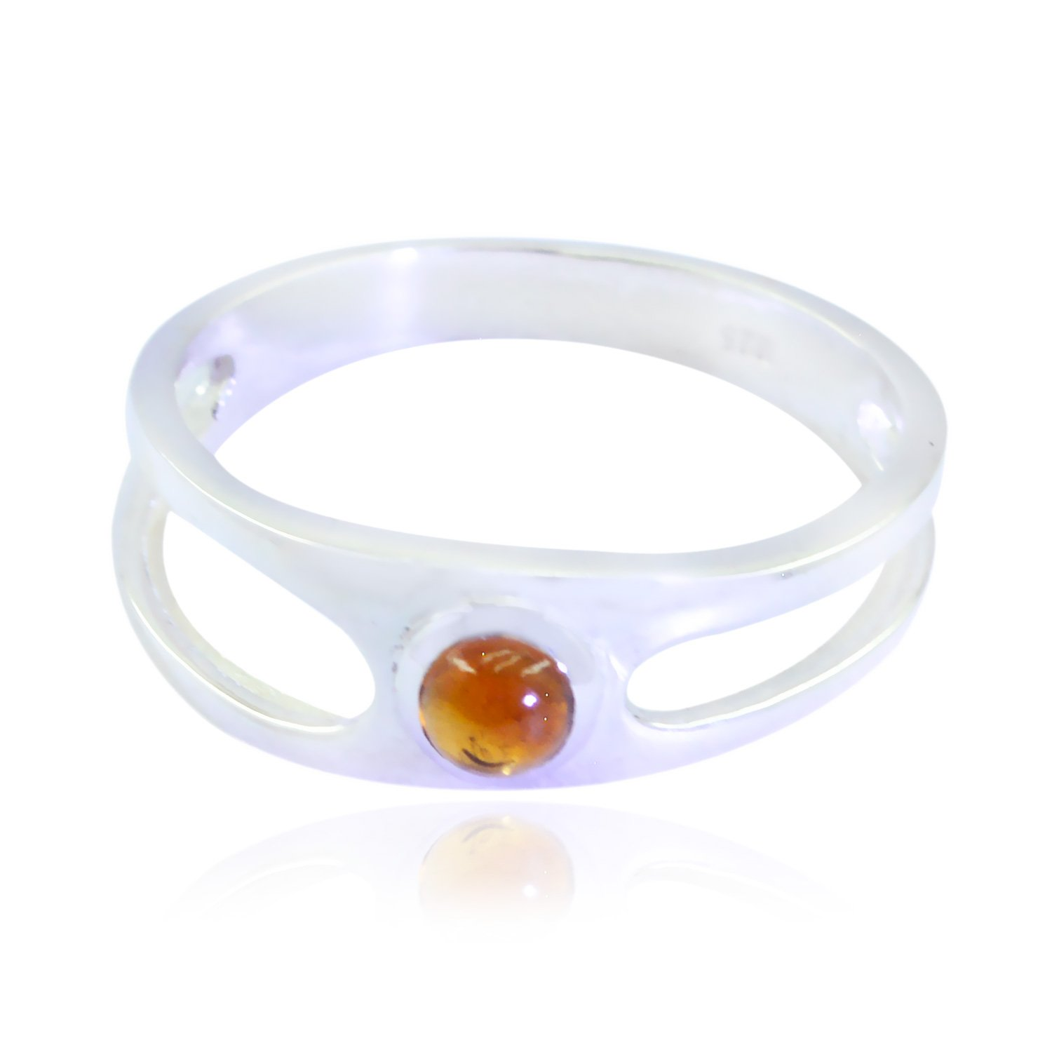 Sterling Silver Yellow Citrine Genuine Gems Ring Genuine Gems Round cabochon Citrine Rings Daughter Jewelry Highest Selling Items Gift for Teachers Day Highest Ring
