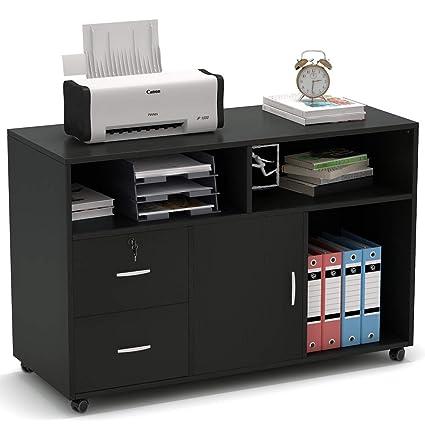 Tribesigns - Soporte para impresora con 2 cajones, armario de ...