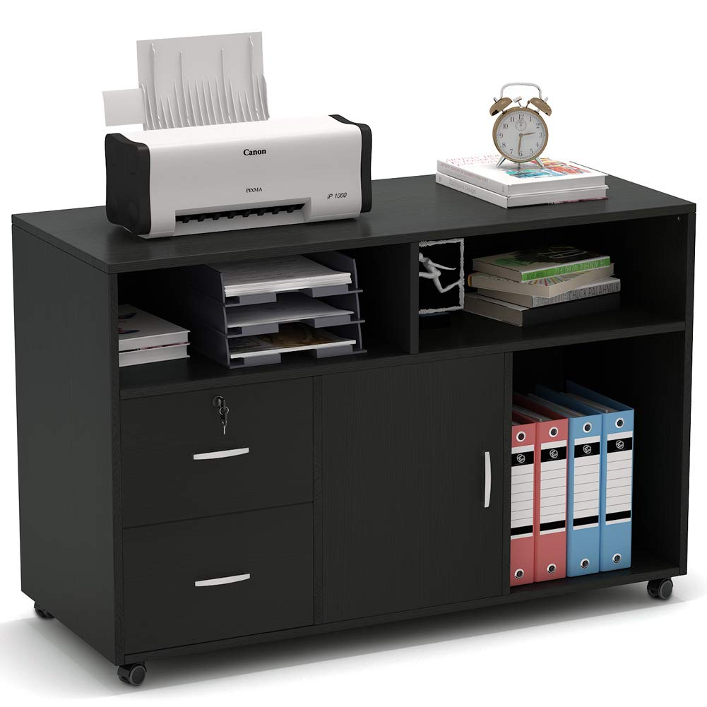 File Cabinet, Tribesigns 2 Drawer Storage Printer Stand,Mobile Lateral Filing Cabinet with Locks and Wheels, Open Storage Shelves for Study, Home Office (Black) by Tribesigns (Image #1)