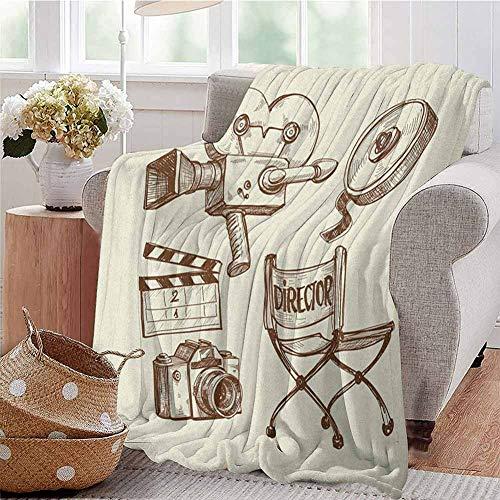 EwaskyOnline Travel Blanket,Movie TheaterPhotography and Cinema Vintage Set in Sketch Art Style Director Shooting,Warm Microfiber All Season Blanket Beige Brown 39