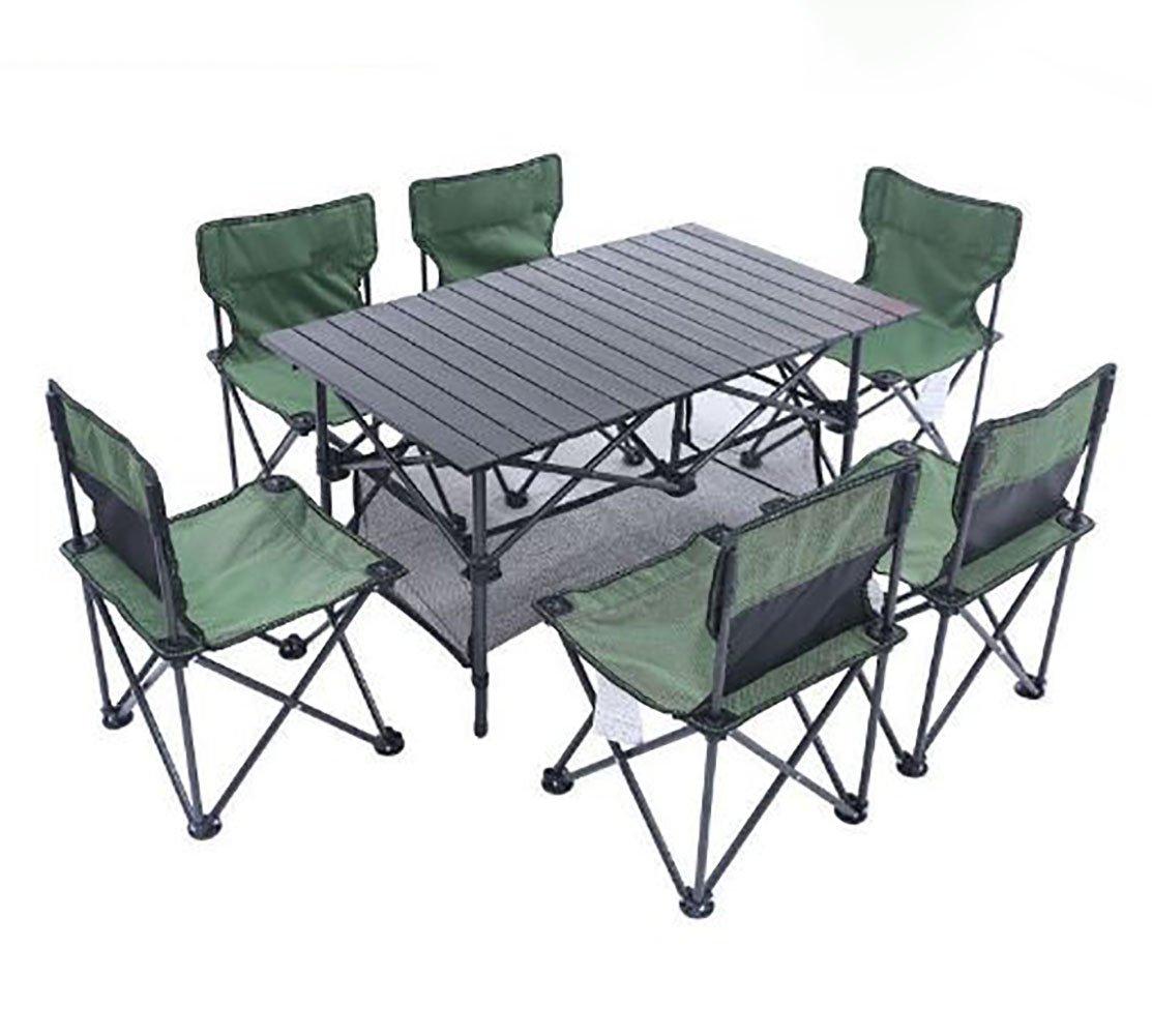 KOKR Outdoor Foldable Campingtisch Campingstuhl Set (1 x Klapptisch + 6 x Campingstühle) Klappstuhl Faltstuhl Gartenstuhl