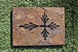 GraphicRocks Sandblast Engraved Natural Stone Decorative Stepping Stone Feather Cross For Sale
