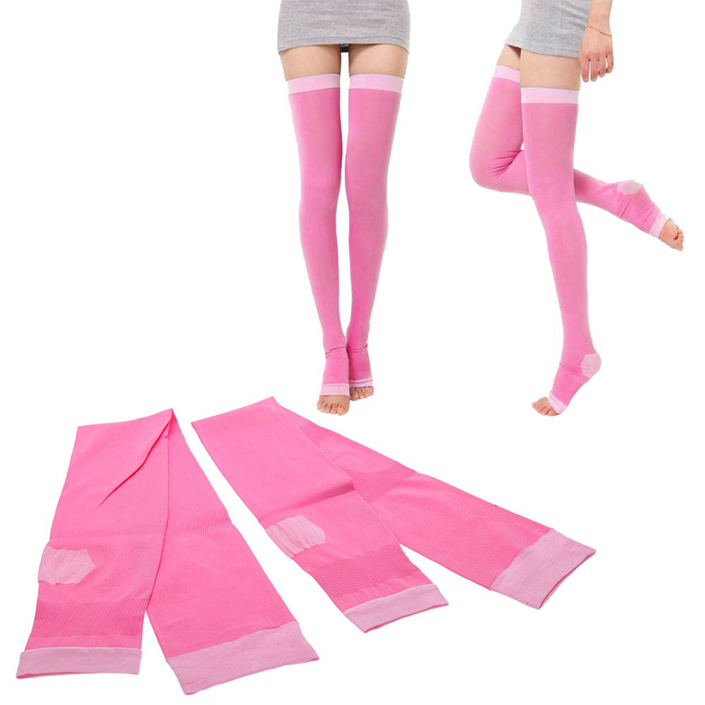 Professional Fashion 480d Compression Stockings Legs Anti Varicose Fat Burning Stovepipe Women Sleeping Health (Pink)