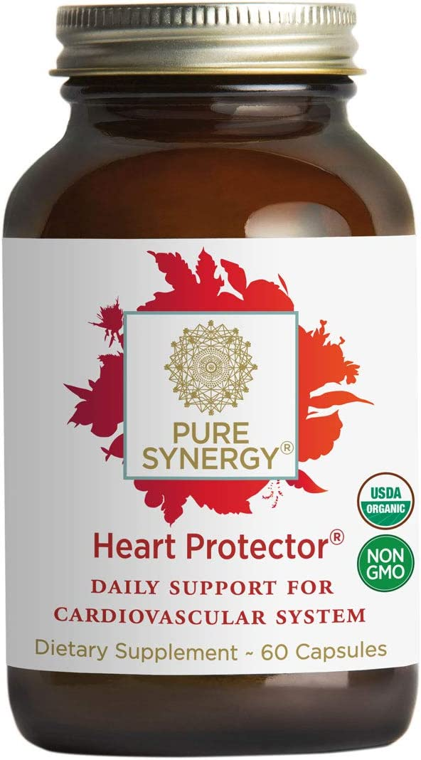 Pure Synergy Organic Heart Protector 60 Capsules Complete Heart Supplement w Hawthorn, Curcumin, Nattokinase
