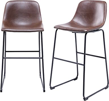 Amazon Com Tavr Pu Leather Bar Stools With Back And Footrest Set Of 2 Brown Modern Bar Stool Chair Height For Pub Coffee Home Dinning Kitchen Furniture Decor