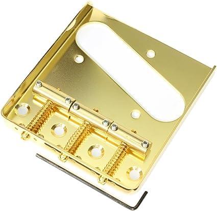 Gold finish Vintage Telecaster bridge with 3 brass saddles
