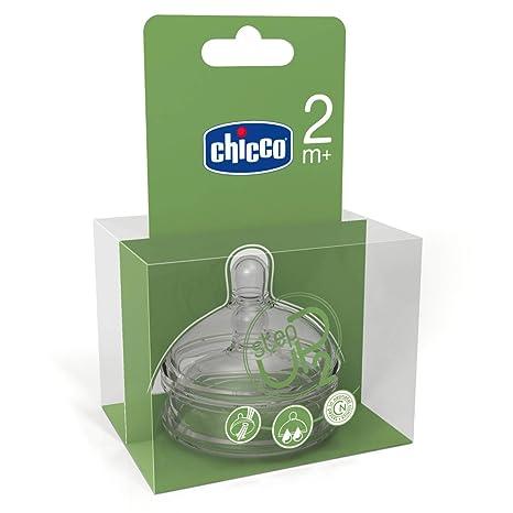 Tetina inclinada de silicona con flujo regulable para beb/é de 4 meses en adelante 2 unidades Chicco NaturalFeeling