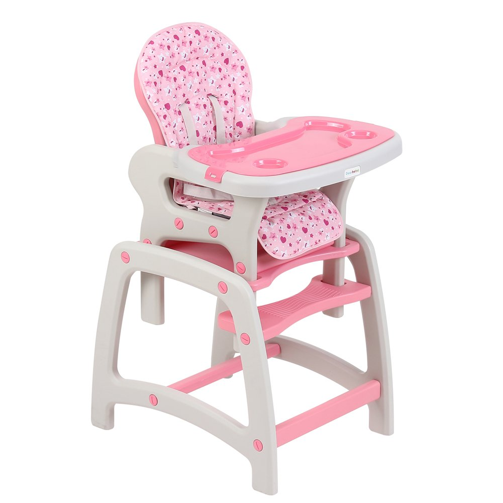 Amazon.com : Dearbebe 3 in 1 Baby High Chair Booster Seat Toddler with Eating Table, Pink