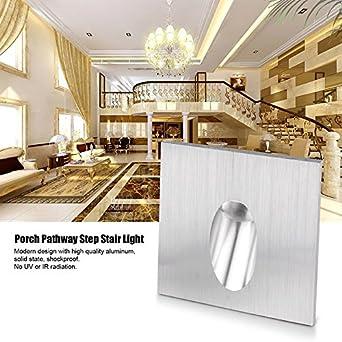 Luz de Escalera Empotrada LED, SUNJULY 1W Luz de Escalón Interior Cuadrada Juego de Lámpara para Porche Pathway, Escalera de Escalera, Luz de sótano, AC 100-245V-Blanco cálido: Amazon.es: Iluminación
