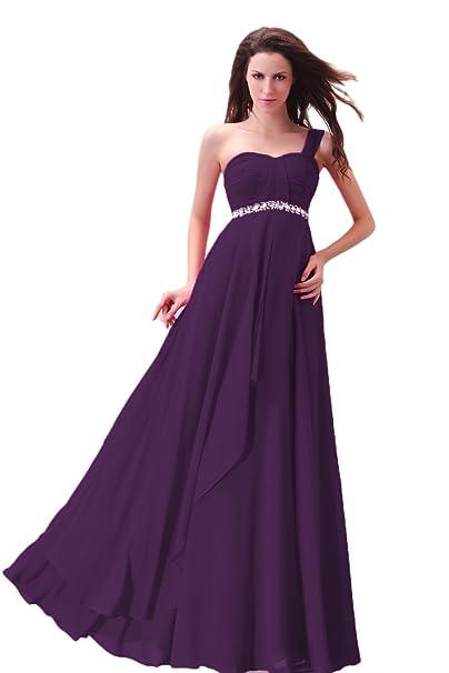 007bfa92aa9 Novia _ Mall Mujer Un hombro cuentas de larga chifón de vestido de fiesta  Morado morado