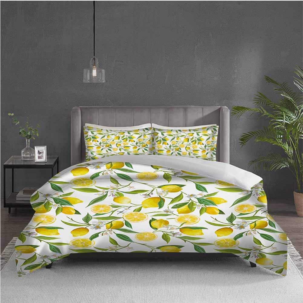 GUUVOR Nature 3-Pack (1 Duvet Cover and 2 Pillowcases) Bedding Exotic Lemon Tree Branches Yummy Delicious Kitchen Gardening Design Polyester (King) Fern Green Yellow White