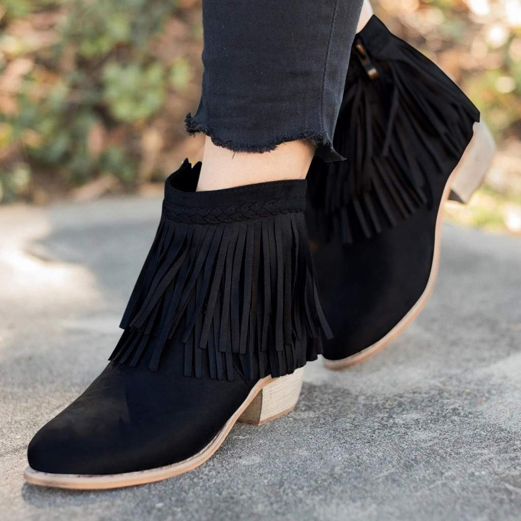 cobcob Clearance Shoes Women's Western Ankle Boots,Ladies Fashion Tassel Pointed Toe Zipper Solid Short Boot Roman Shoe by cobcob Clearance Shoes