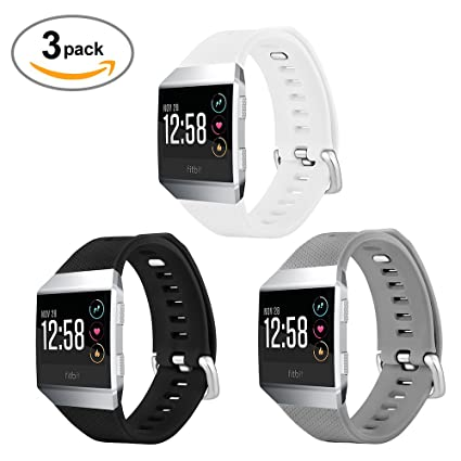 TUJUIO Silicone Sport Watch Band New Replacement Soft Lightweight Replacement Band for Fitbit Ionic Smartwatch 3 Pack (Black/White/Gray)