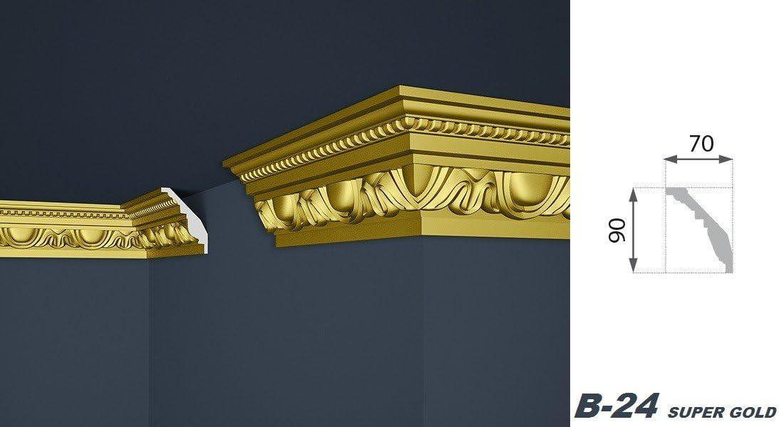 Marbet Modelos de listones B EPS Barra de estuco de 2 metros oro