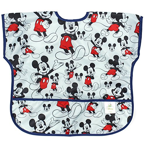 Bumkins Disney Mickey Mouse Junior Bib / Short Sleeve Toddler Bib / Smock 1-3 Years, Waterproof, Washable, Stain and Odor Resistant -  Classic (Bi Jacket Layer)