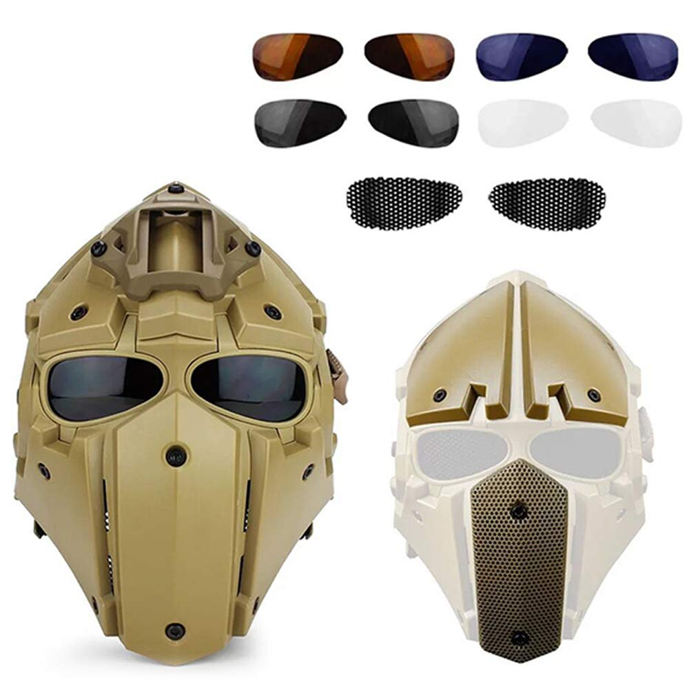 ActionUnion Fast Tactical Helmet Full Face Head Mask and Goggles Protective with Visor Goggles for Airsoft Military Hunting Paintball CS Necessary Riding Motorcycle Cosplay Movie Prop (Tan) by ActionUnion