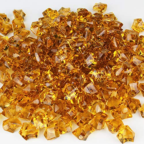 CYS EXCEL Acrylic Ice Rocks for Vase Fillers, Acrylic Gems for Table Scatters, Event, Wedding, Birthday Decoration (Acrylic Ice Amber, 4 Pounds) Wholesale Prices, Saving More!