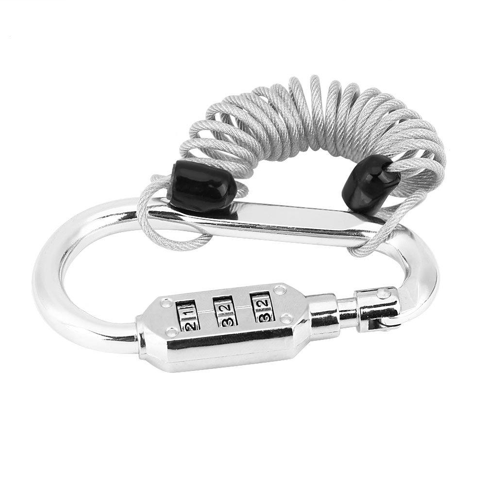 Lucchetto per casco moto, Keenso Security Codice a 3 cifre Combinazione password PIN Lock & 3 Feet Steel Spring Cable Anti Theft Bike Lock(nero)