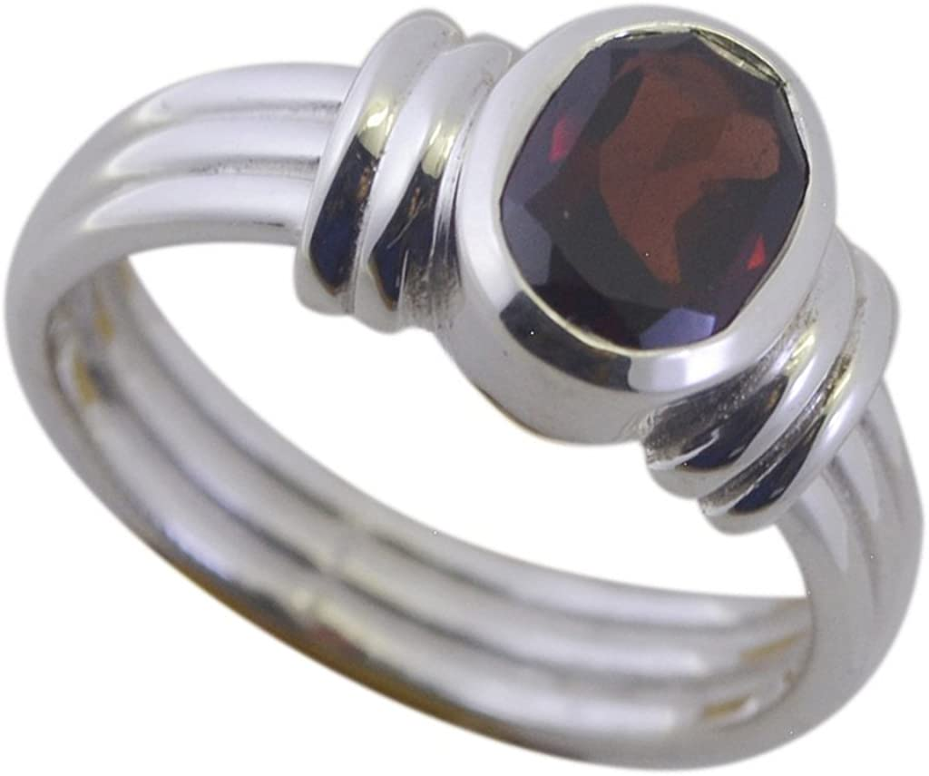 CaratYogi Real Garnet 925 Solid Silver Wedding Ring Oval Shape Bezel Style Gorgeous Handmade Size 5 to 12