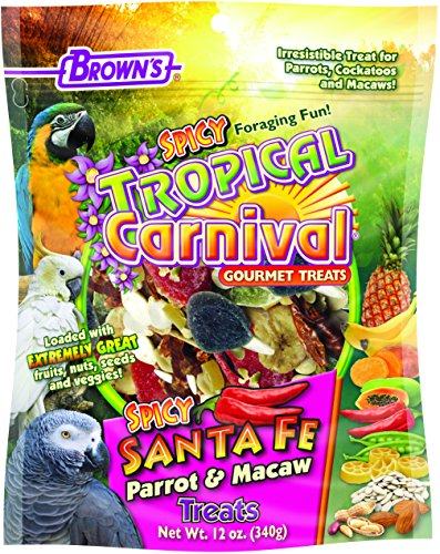 F.M. Brown's Tropical Carnival Gourmet Spicy Santa Fe Parrot and Macaw Treat with Chili Peppers, Fruits, Veggies, and Nuts, (Tropical Cockatoo)