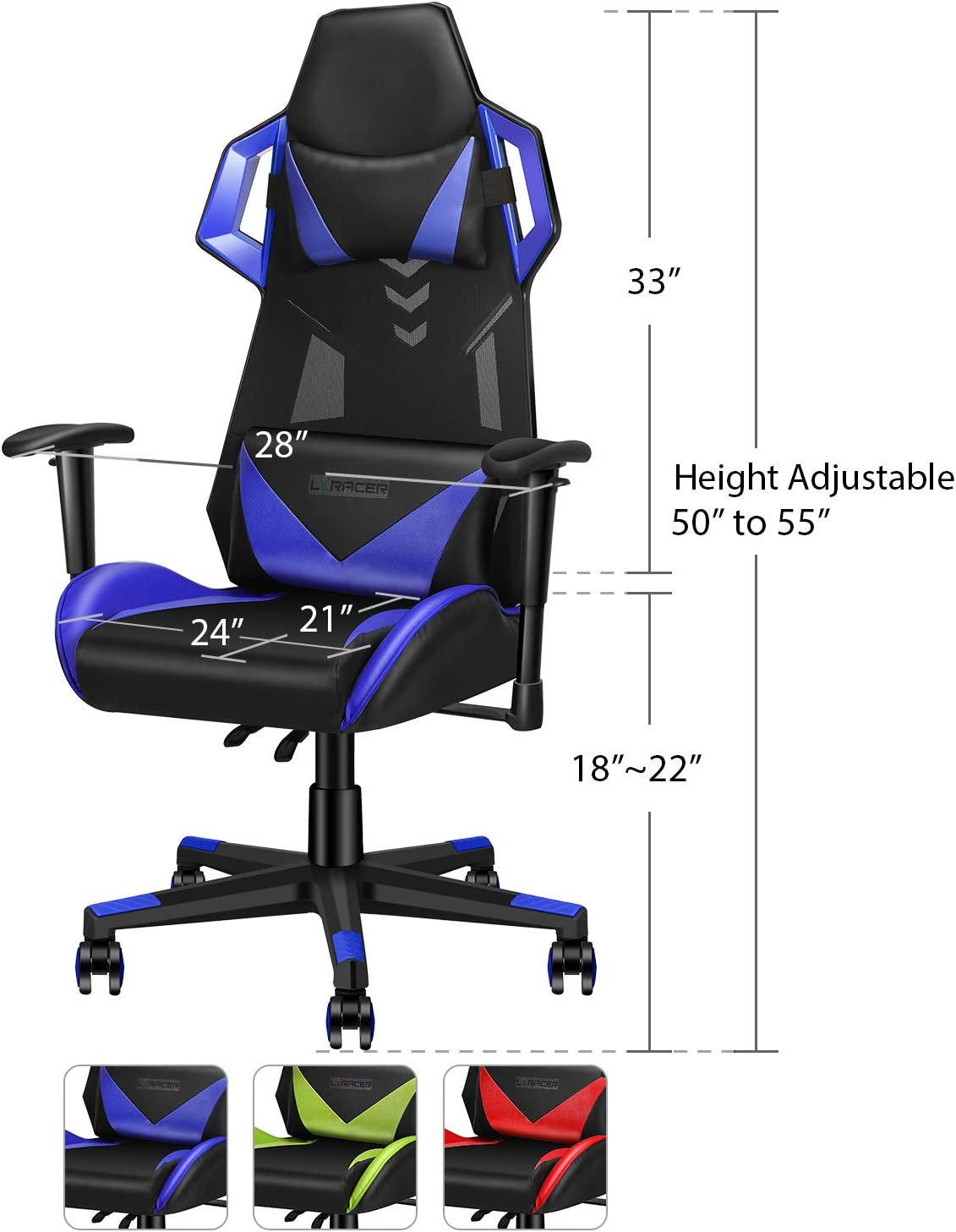 Adjustable Racing Chair with Lumbar Support /& Headrest Recliner Video Games Chair with Adjustable Height and Rocking Angle High Back Swivel Computer Chair LUXMOD Ergonomic Gaming Chair Green ASDLU1070049-2