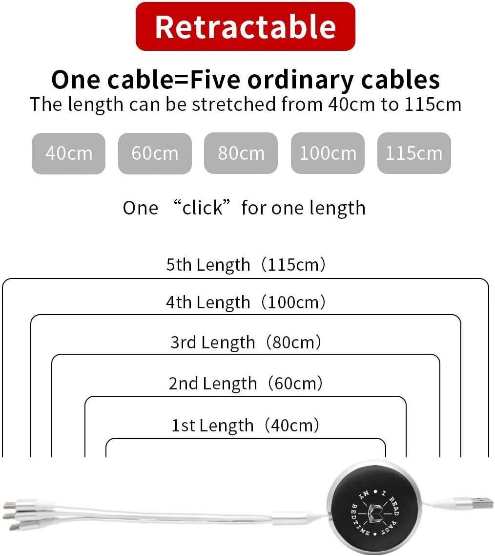 for Mobile Phones and Tablets I Read Past My Bedtime Universal 3 in 1 Multi-Purpose USB Cable Charging Cable Adapter Micro USB Port Connector