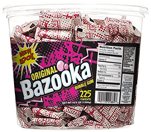Original Bazooka Bubble Gum, 225 Piece Tub, 47.6 oz