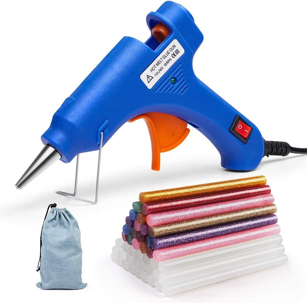 Karveden Professional Mini Hot Melt Glue Gun with 60pcs Glitter Adhesive Glue Sticks Ideal for Homes,Offices,School,Party Designers,DIY Air Craft Projects & Sealing and Quick Repairs(20-watt, Blue)