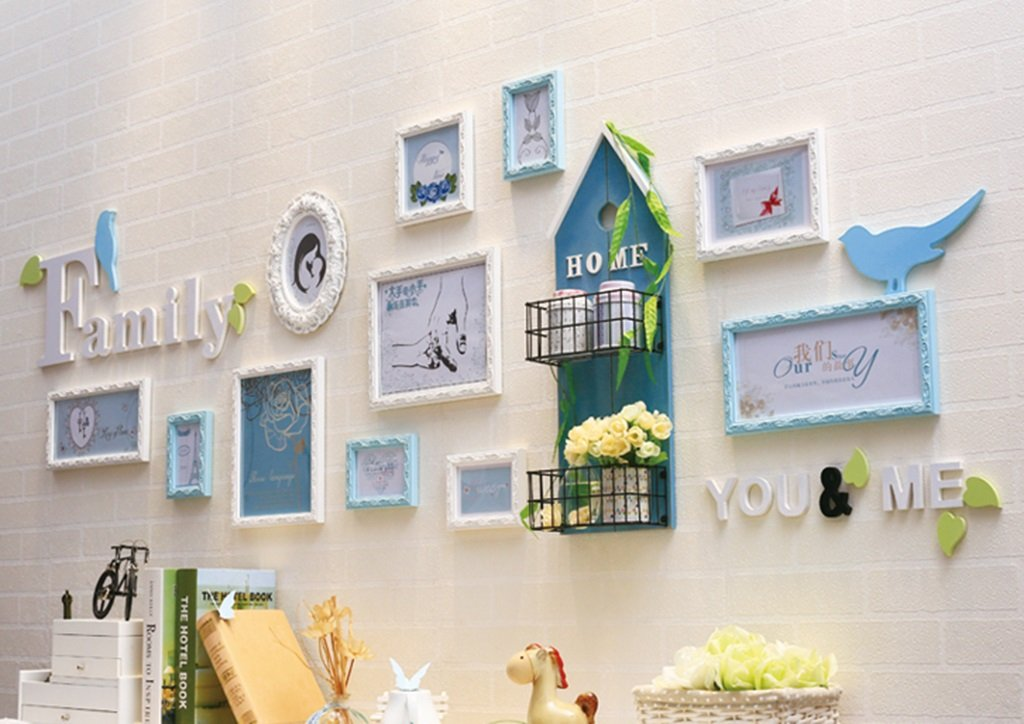 LQQGXL Modern simple photo wall solid wood photo frame living room children's room creative combination of objects Photo frame ( Color : Blue )