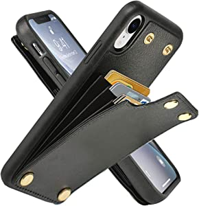 LAMEEKU Wallet Case for Apple iPhone XR, 6.1-Inch, Protective Leather Cases with Credit Card Holder Case Money Pocket, Shockproof TPU Bumper Phone Cover Compatible with iPhone XR 6.1