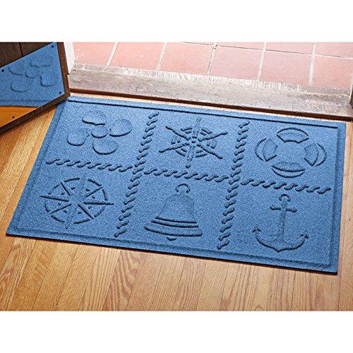"Bungalow Aqua Shield Nautical Grid Mat, 2"" x 3"", Medium Blue"