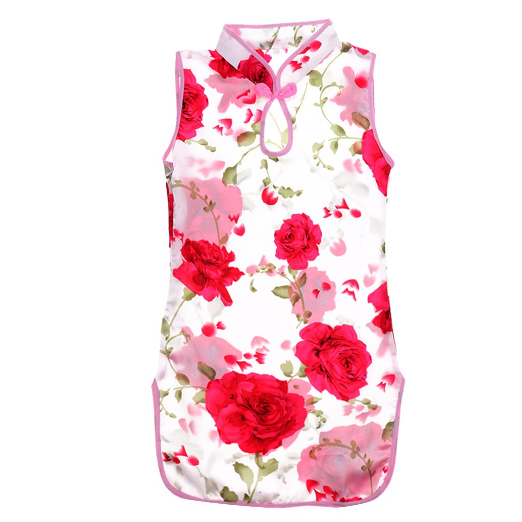 Dolity Classic Chinese Kids Baby Girl Floral Flower Cheongsam/Qipao Dress Clothes 3-8Y - Red, Size 6 (4-5Y)