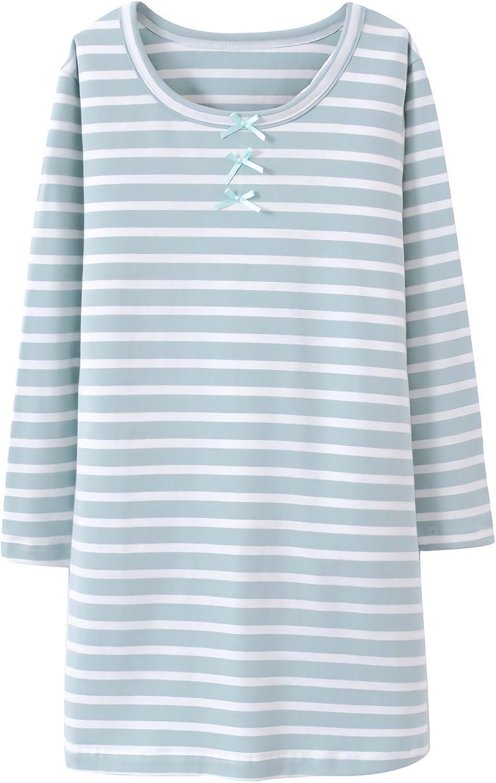 Allmeingeld Girls Stripes Nighties Bowknot Nightgowns Cotton Sleepwear for 3-12 Years