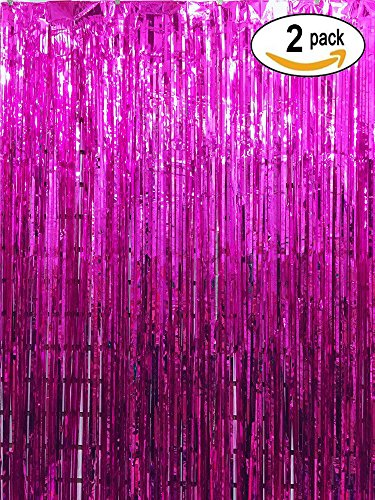Dallas Stars Drapes (Langxun 3 ft x 8 ft Rose Red Foil Fringe Curtains | Photo Booth Background for Party, Prom, Birthday, Wedding, Event Decorations ( 2 Pack ))