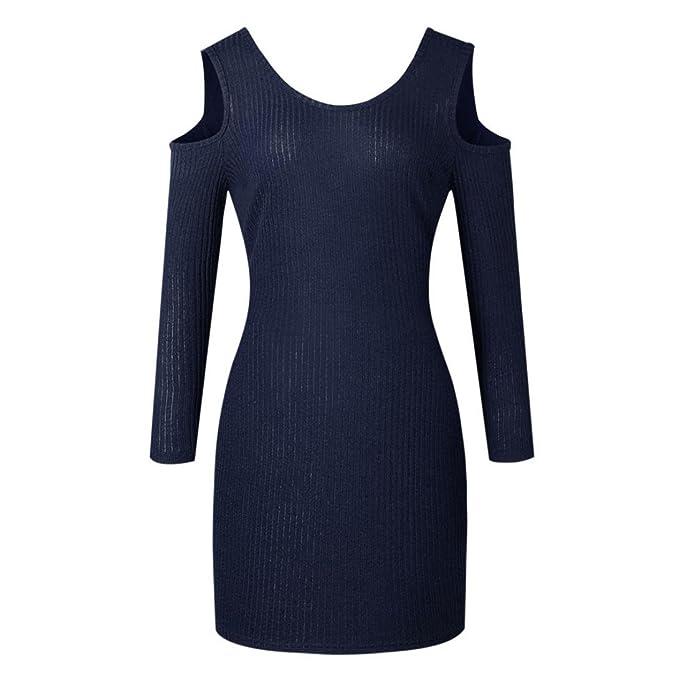 Vestido De Mujer, Xinan Las mujeres adelgazan el vestido que hace punto del hombro Mini