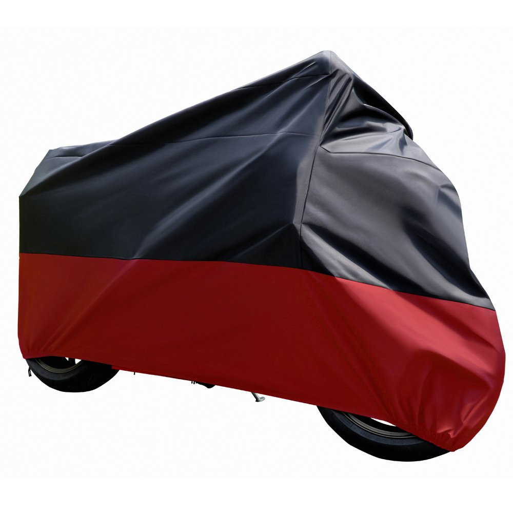 Tokept All-Weather Motorcycle Cover Heavy Duty Material Fabric in Black and Red for 103 Inch Motorcycles Like Honda Yamaha Suzuki Harley Keeps Your Bike Dry and Protected Year Round